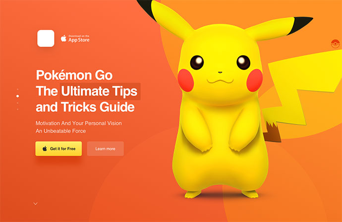 Landing Page for Pokemon Go App