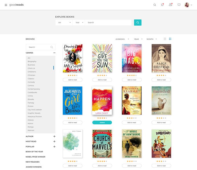 Books listing page