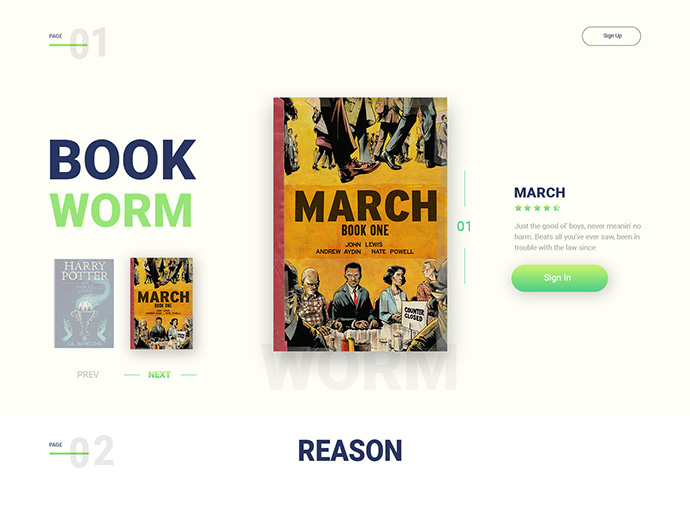 Book Worm - landing page design