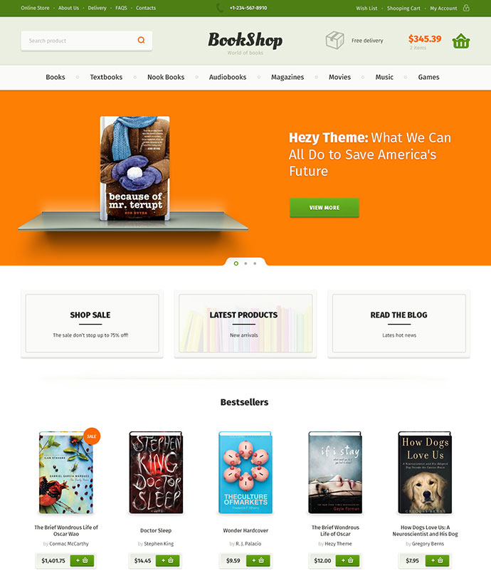 Bookshop PSD Template