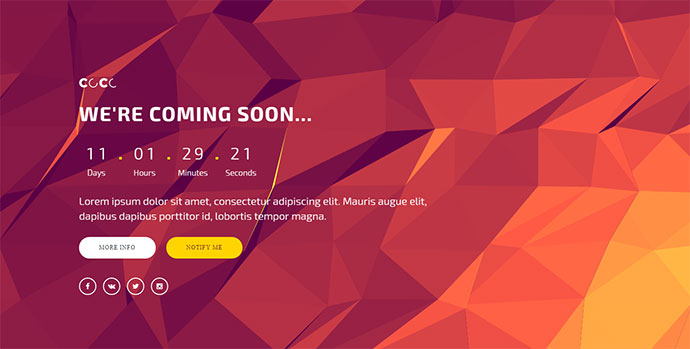 CoCo – 250 + Responsive HTML Multipurpose Under Construction Coming Soon Templates