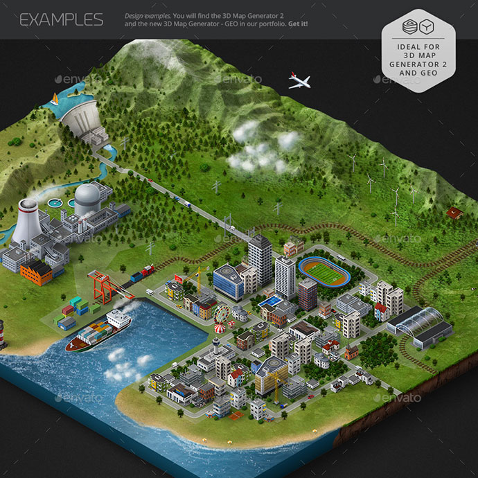 Isometric Map Icons - Bundle