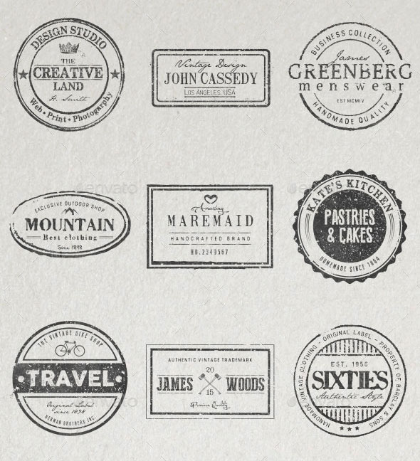 20 Stamped Logos (Photoshop & Illustrator)