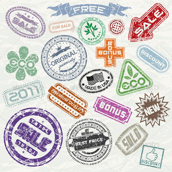 Shopping Stamps Vector Collection