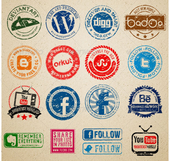 Social Media Rubber stamps