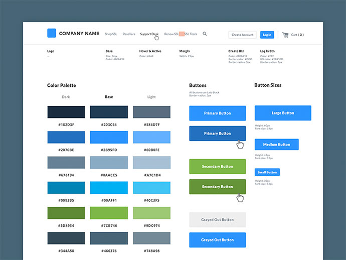40 great examples of ui style guides
