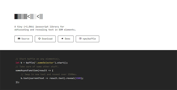javascript library for obfuscating and revealing text in DOM elements