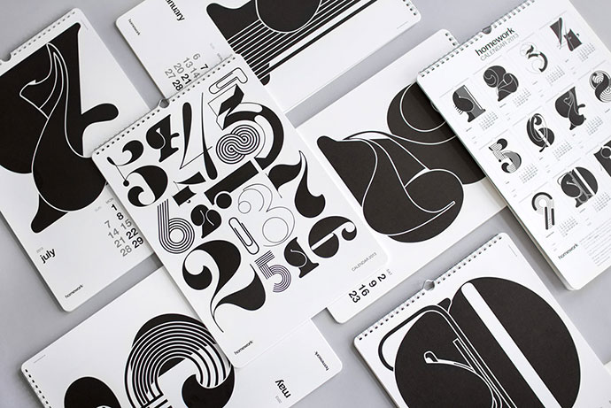 Typographic calendars for A.P.J. (Art Print Japan)