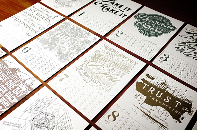2016 Letterpress Calendar – The Creative Manifesto