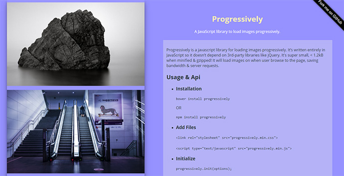 A JavaScript library to load images progressively.