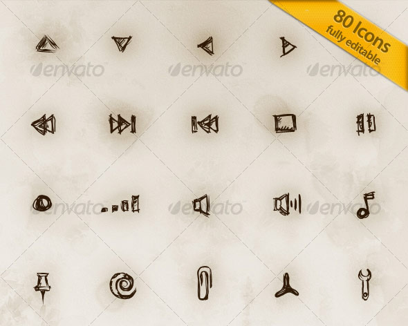 80 Hand Drawn Editable Icons V.2