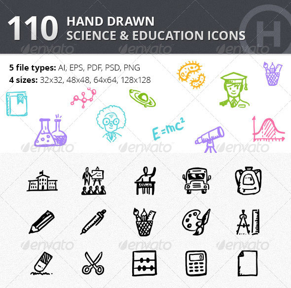 110 Hand-drawn Science & Education Icons