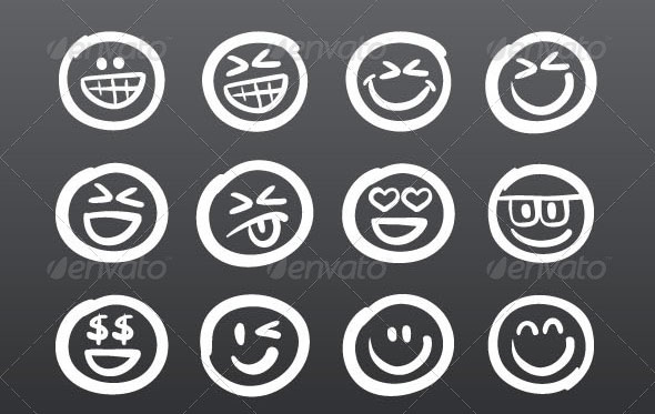 Hand Drawn Emoticon Smiley Icon Vector Set