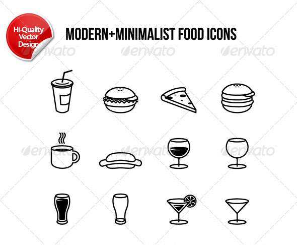 Modern-Minimalist Food Icons