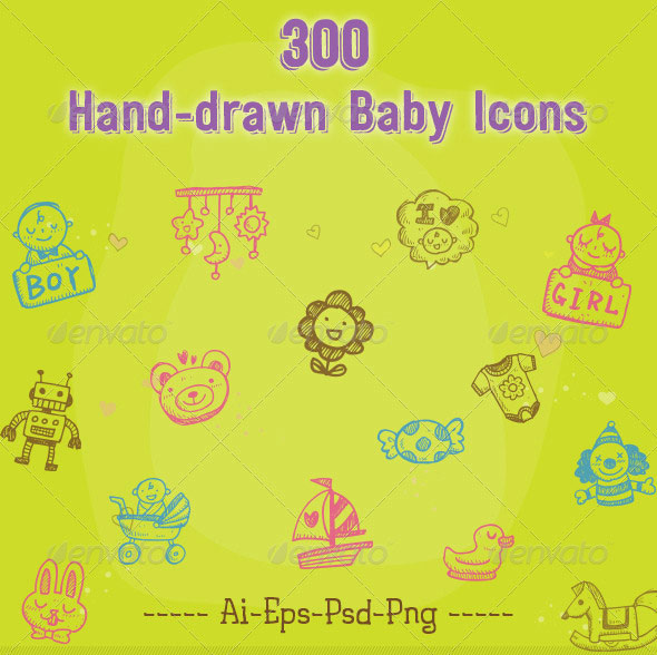 300 Hand Drawn Baby Icons