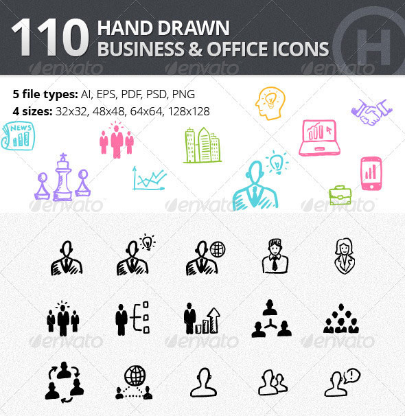 110 Hand-drawn Business and Office Icons