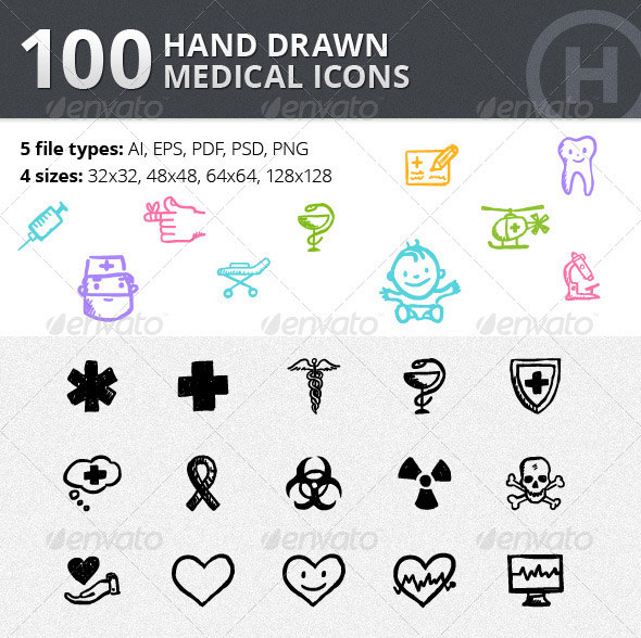 100 Hand-drawn Medical Icons
