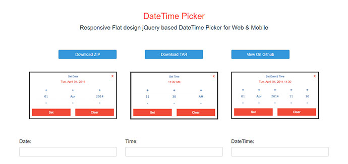 Responsive Flat design jQuery based DateTime Picker for Web & Mobile