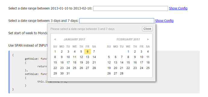 jQuery Date Range Picker Plugin
