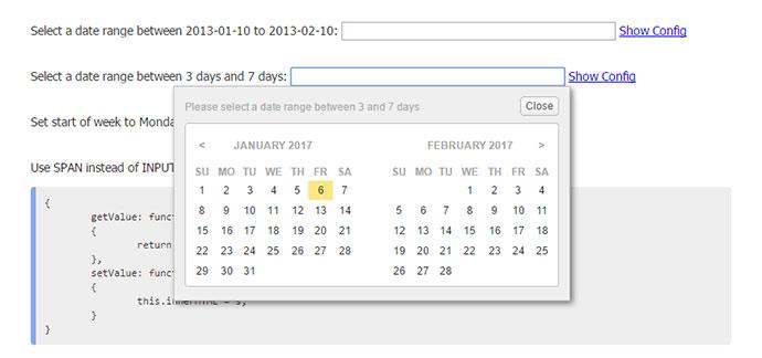 jQuery Date Range Picker Plugin