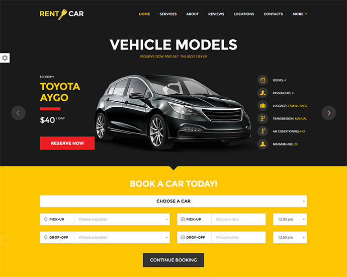 Car Rental WordPress Theme / Landing Page