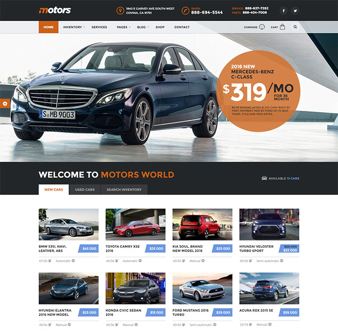 Automotive, Cars, Vehicle, Boat Dealership, Classifieds WordPress Theme