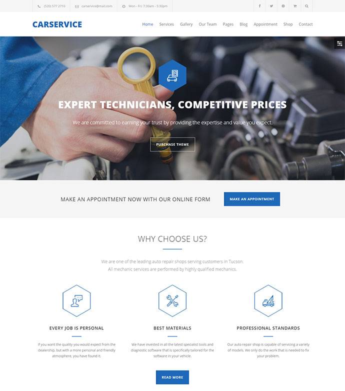 Mechanic Auto Shop WordPress Theme
