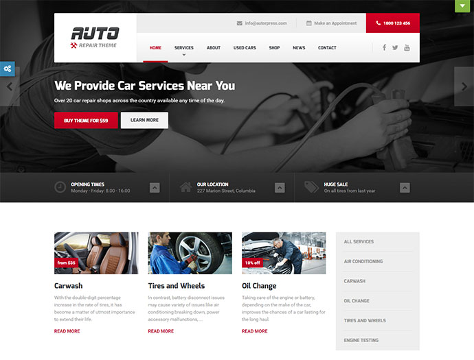 Ideal Car Mechanic and Auto Repair Template for WordPress