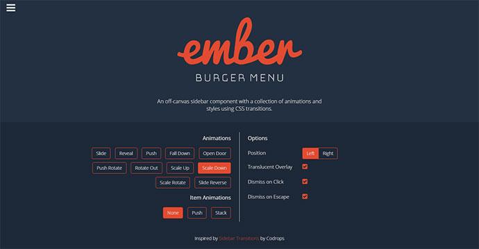 ember burger menu