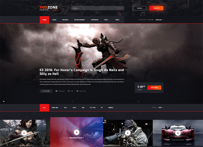 Red Zone - Game PSD Template (Blog, Review, Portal, Community)