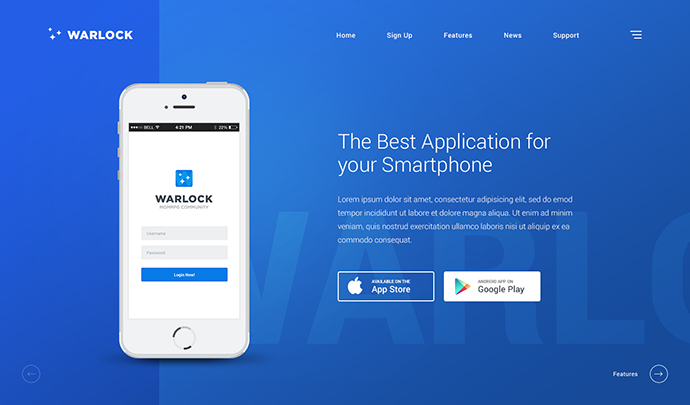 Warlock App PSD Template