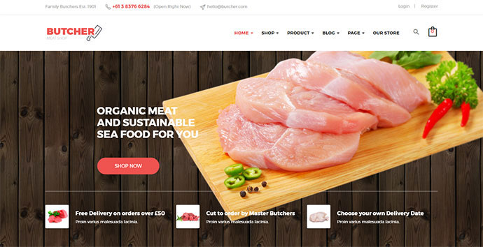 Butcher - Meat Shop Woocommerce WordPress Theme