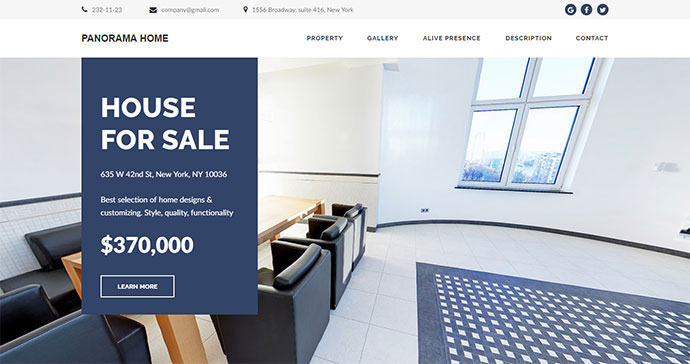 Panorama Home - Real Estate 360 Virtual Tour | Adobe Muse Template