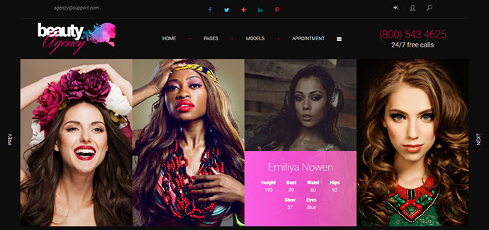 Models Agency - model and fashion portfolio WordPress theme