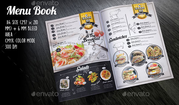 Black Vintage Menu Book