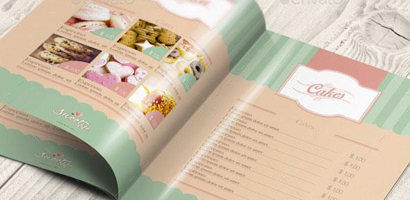 Vintage Cake Menu Brochure / Bi-fold Template