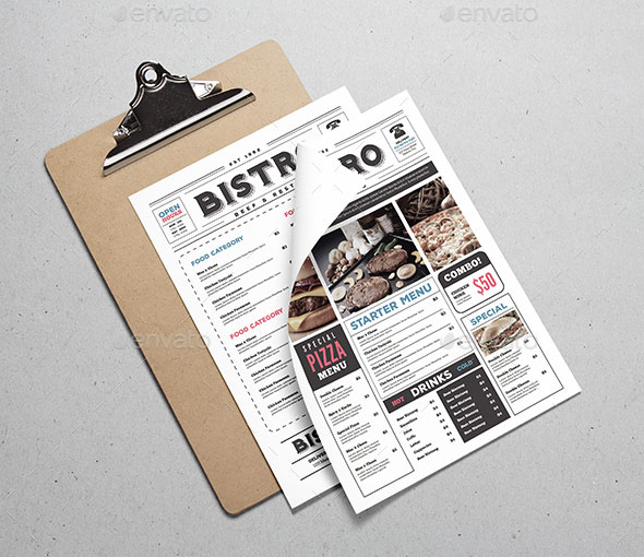Newspaper Style Food Menu