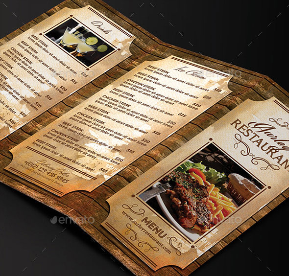 Modern Retro Vintage Restaurant Menu Templates Web Graphic - Folded menu template
