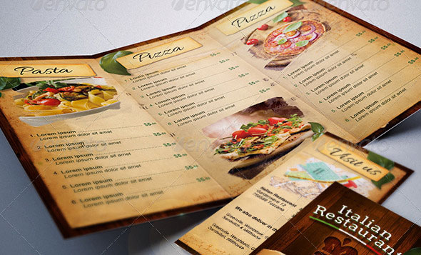 Italian Restaurant Food Menu Template Tri-Fold