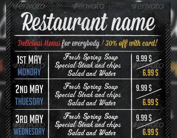 Retro Restaurant Typography Flyer