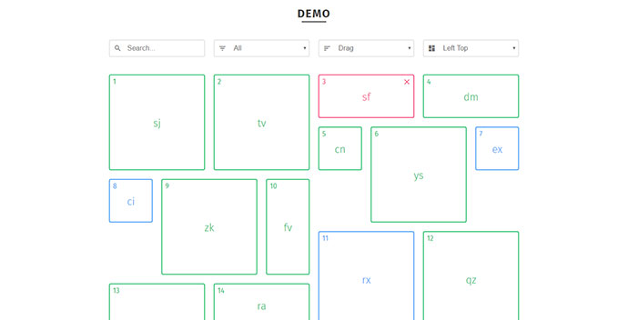 Responsive, sortable, filterable and draggable grid layouts