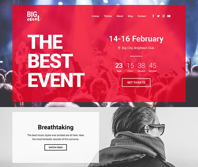 20 spectacular event landing page templates web graphic design bigevent landing page html template pronofoot35fo Image collections