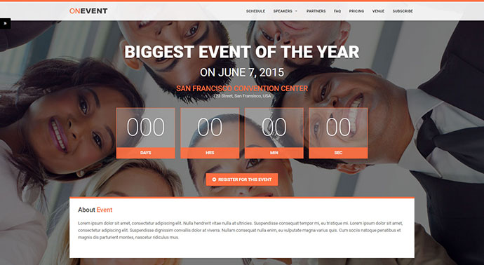OnEvent - Special Event Landing Page