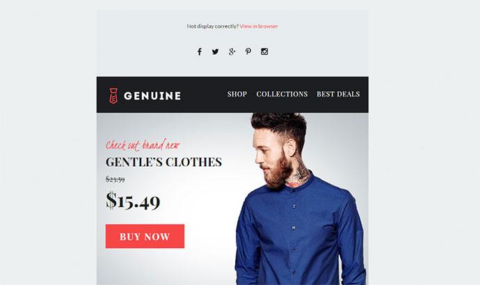 Genuine - E-commerce E-newsletter + Builder Access