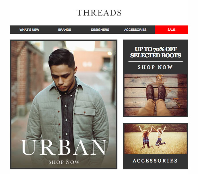 Threads, a responsive fashion email set