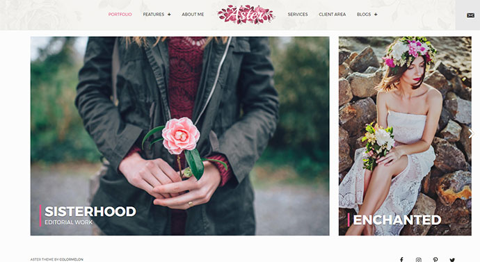 Aster - Feminine Photography Portfolio WordPress Theme