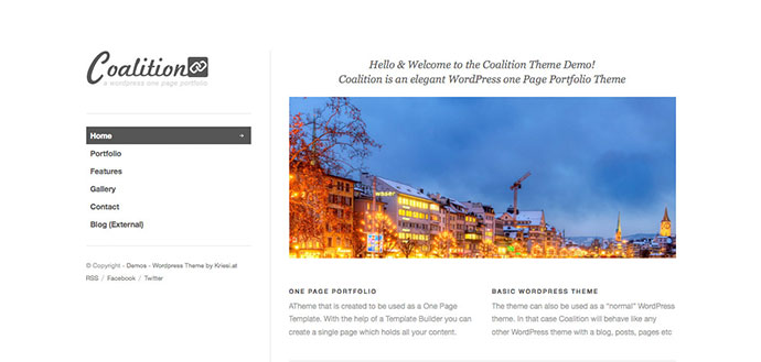Coalition - One Page WordPress Portfolio