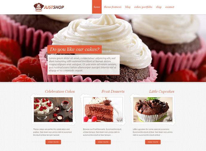 Cake Bakery WordPress Theme - Justshop