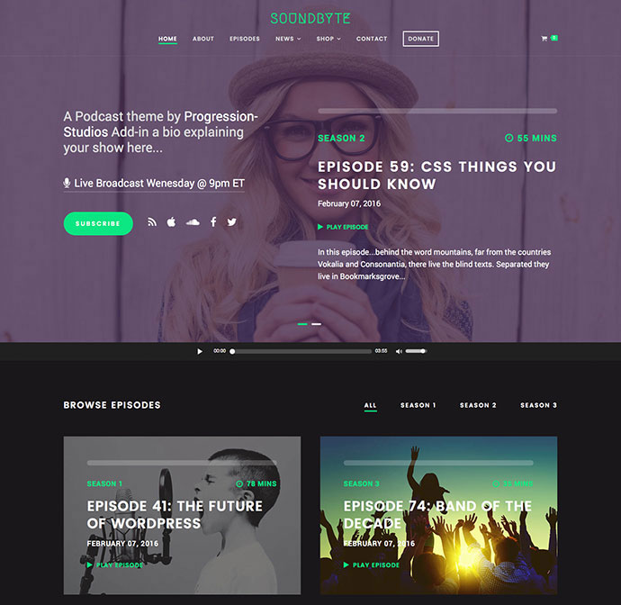 Soundbyte - Podcast/Audio WordPress Theme