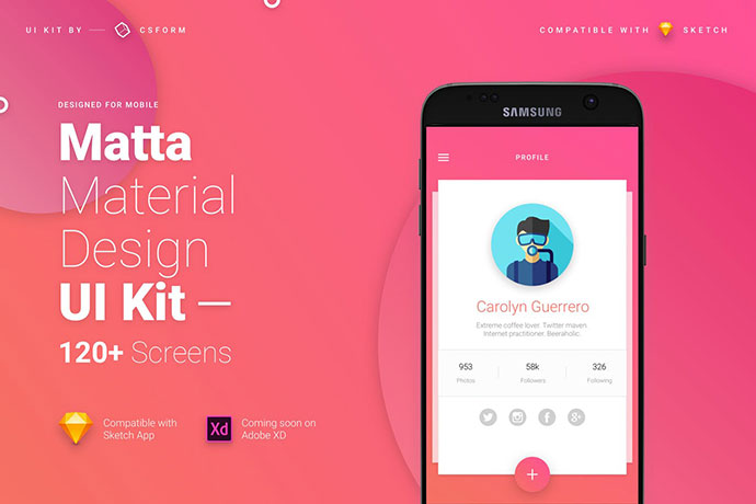 Material Design Mobile Ui Kit By Creativeform